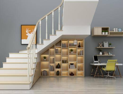 楼梯, 书桌, 单椅, 桌椅组合, 现代楼梯, 现代桌椅组合, 摆件, 装饰品, 柜架组合, 书籍, 书柜, 现代