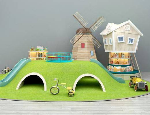 游乐场, 滑滑梯, 风车玩具, 书架书柜, 卡通玩具, 现代