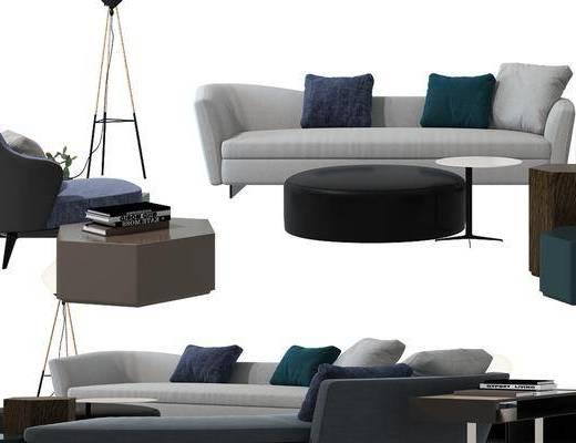 沙发, 多人沙发, 单人沙发, 休闲椅, 茶几, 落地灯, 边几, 书籍, 现代