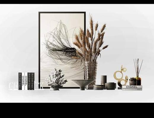 摆件组合, 陶瓷器皿, 装饰品, 陈设品, 装饰画, 挂画, 瓶罐, 现代