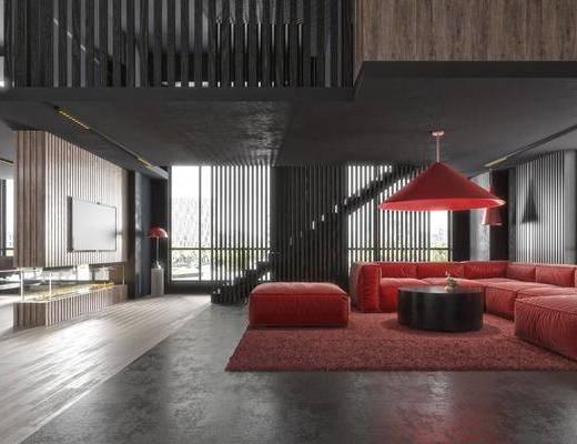 沙发组合, 落地灯, 茶几, 摆件组合, 地毯
