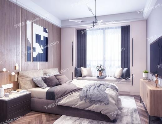 卧室, 床具组合, 双人床, 现代卧室, 床头柜, 吊灯, 电视柜, 摆件组合, 现代