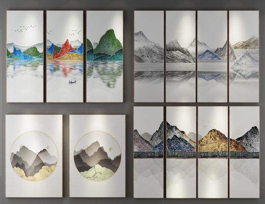 装饰画, 组合画, 风景画, 新中式