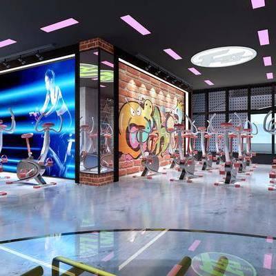 健身房, 健身室, 健身器材, 体育器材, 现代, 跑步机