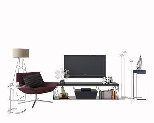 电视柜, 落地灯, 边几, 圆几, 单椅, 休闲椅, 端景台, 陈设品, 摆件, 现代