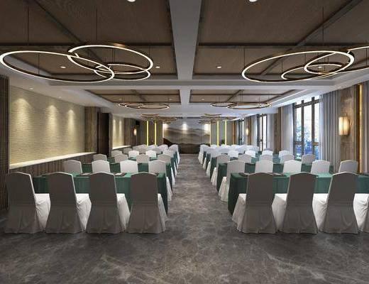 会议室, 单人椅, 吊灯组合, 壁灯, 新中式
