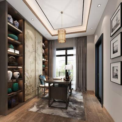 书柜, 书桌, 装饰柜, 窗帘, 吊灯, 装饰画