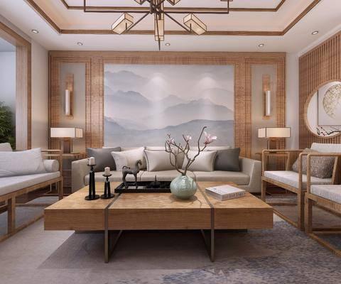 客厅, 餐厅, 沙发组合, 桌椅组合, 茶几, 吊灯
