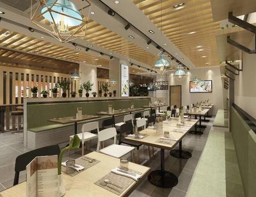 餐厅, 饭店, 现代, 餐桌椅, 餐具, 吊灯