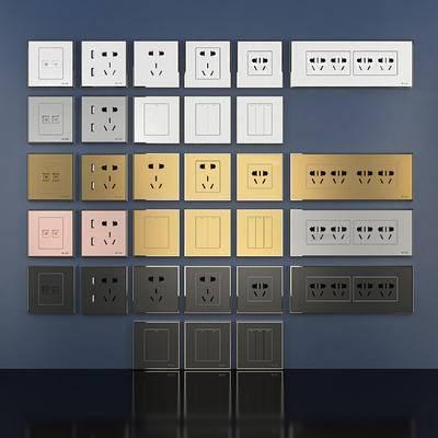 电源插座, 电源开关, 开关, 插座, 构件