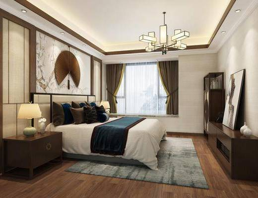 新中式卧室, 双人床, 床头柜, 边柜, 新中式