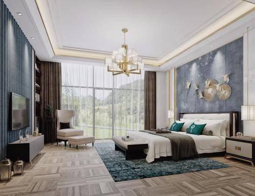 酒店客房, 卧室, 双人床, 床头柜, 台灯, 墙饰, 单人沙发, 凳子, 电视柜, 装饰柜, 边柜, 吊灯, 床尾凳, 新中式