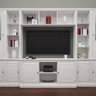 置物柜, 装饰柜, 书柜, 电视柜, 简欧, 田园