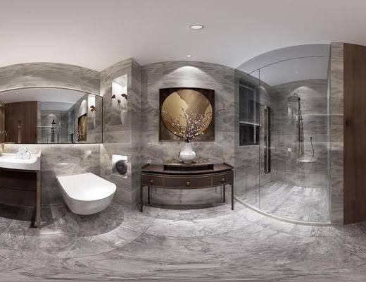 样板房, 卫浴, 洗手盆, 装饰画, 端景台