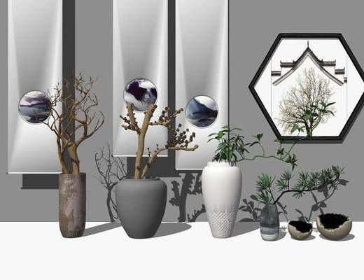 陶瓷, 器皿, 花瓶, 摆件组合