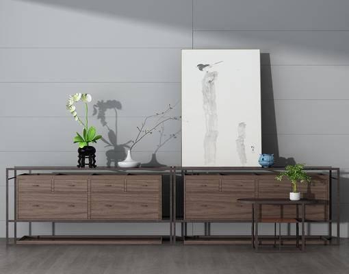 边柜, 玄关柜, 装饰画, 陈设品, 花瓶