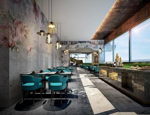 餐厅, 桌椅组合, 吊灯, 地毯