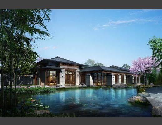 中式园林建筑, 古建, 效果图室外, 园林, 景观