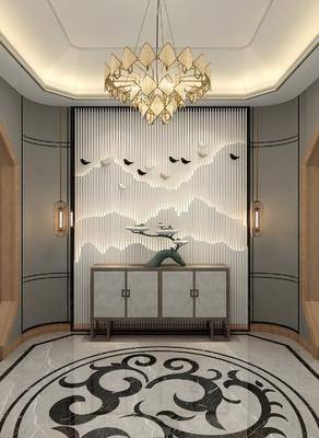 玄关, 装饰柜, 吊灯, 摆件组合