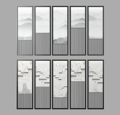 夹丝玻璃, 花格隔断, 新中式