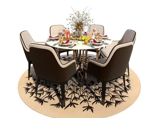 桌椅组合, 餐桌椅, 餐具, 花瓶, 椅子, 桌子