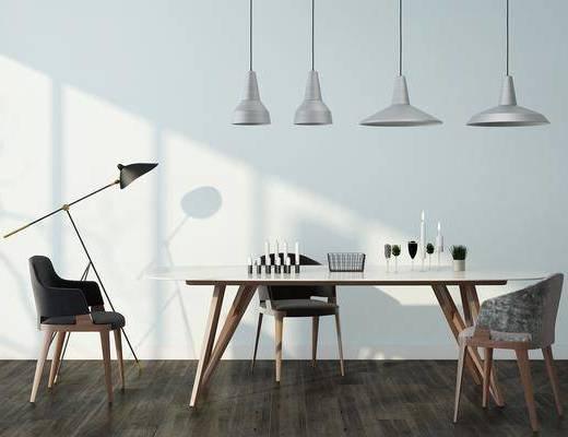 餐桌, 餐椅, 吊灯, 单人椅, 落地灯, 摆件, 装饰品, 陈设品, 现代