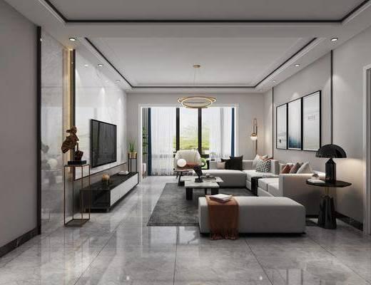 沙发组合, 电视柜, 吊灯, 茶几, 单椅