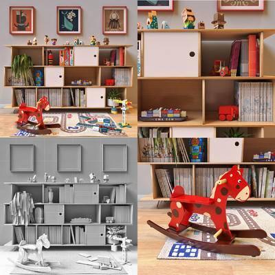 现代儿童柜, 木马, 挂画, 摆件