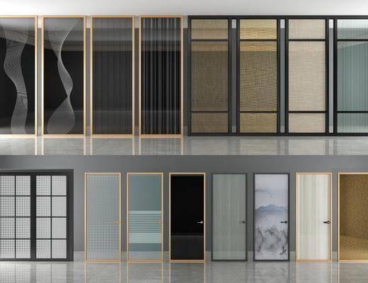 夹丝玻璃门, 隔断组合, 平开门组合, 现代
