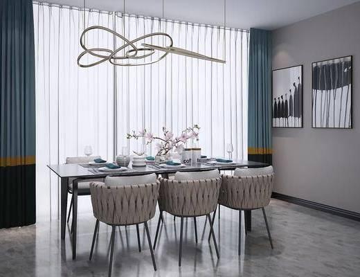 桌椅组合, 餐桌, 单椅, 摆件组合, 现代餐桌椅组合