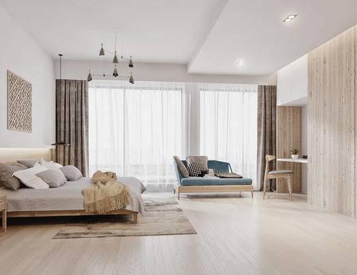 现代, 禅意, 新中式, 卧室, 床, 地毯, 吊灯, 贵妃椅, 书桌椅, 床头柜, 花瓶, 墙饰