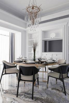 餐厅, 桌椅组合, 餐具组合, 电视柜, 置物柜