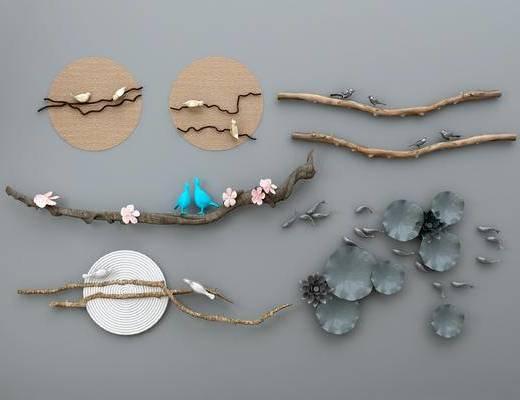 墙饰, 新中式墙饰, 创意墙饰, 树枝墙饰, 不规则墙饰, 挂件, 新中式挂件