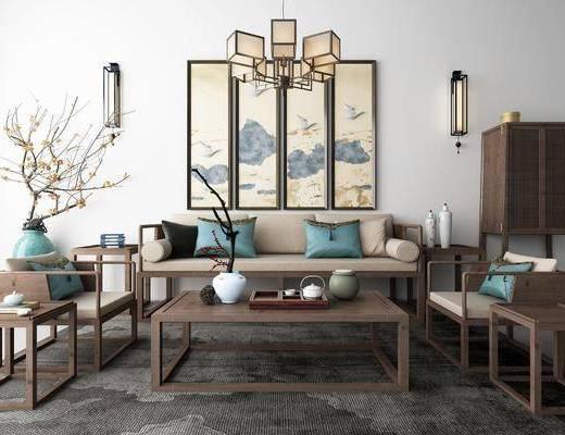 沙发组合, 多人沙发, 单人沙发, 茶几, 装饰画, 挂画, 花瓶, 花卉, 壁灯, 边柜, 边几, 摆件, 装饰品, 陈设品, 吊灯, 新中式