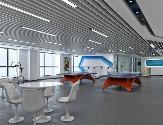 健身室, 桌子, 单人椅, 台球, 装饰画, 挂画, 现代简约