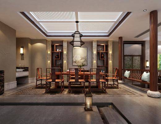 新中式茶馆, 新中式茶室, 带动鞥, 桌子, 椅子, 中式桌椅, 置物架, 摆件, 边柜, 花瓶, 茶馆, 茶室