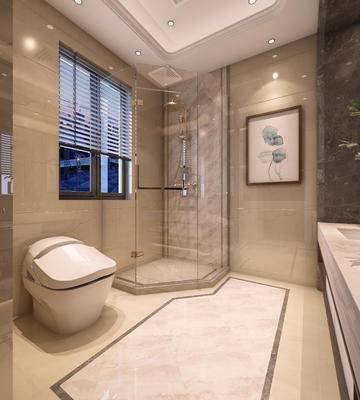 卫生间, 卫浴, 壁镜, 装饰画, 浴柜, 马桶