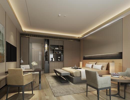 现代简约, 酒店客房, 床具组合, 陈设品组合, 桌椅组合