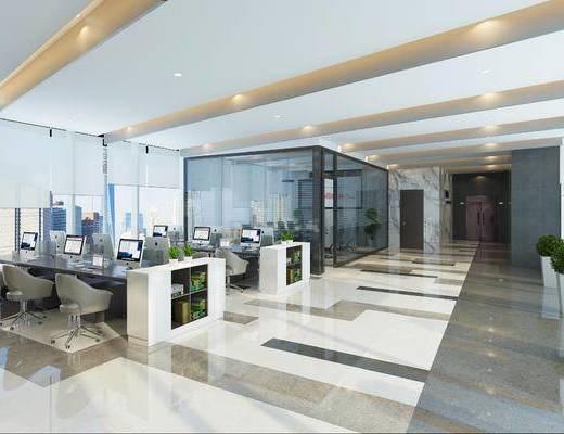 办公区, 办公室, 办公桌椅, 办公桌