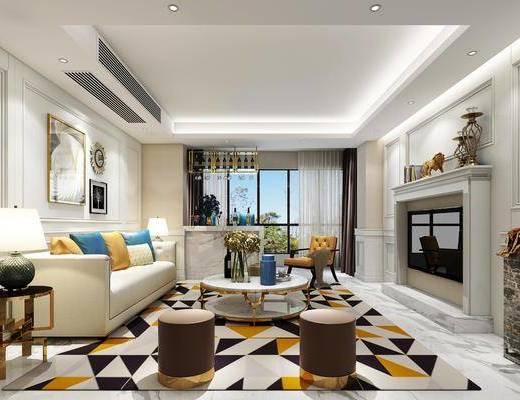客厅, 沙发组合, 茶几, 摆件, 沙发凳, 台灯, 吧台, 现代, 现代客厅