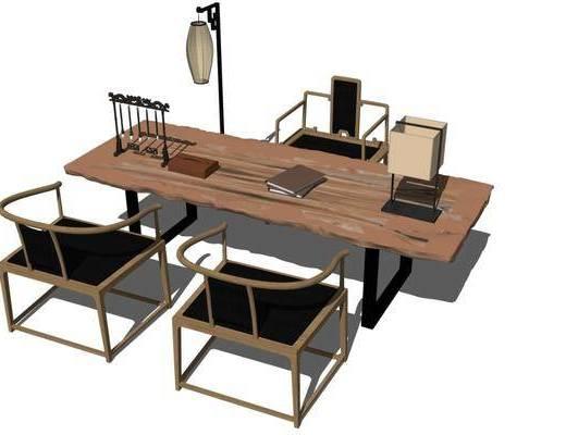 书桌, 桌椅组合, 摆件组合