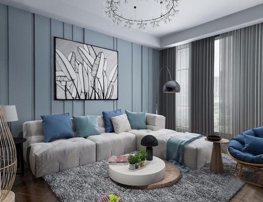 北欧简约, 客厅, 沙发茶几组合, 吊灯, 落地灯, 植物盆栽