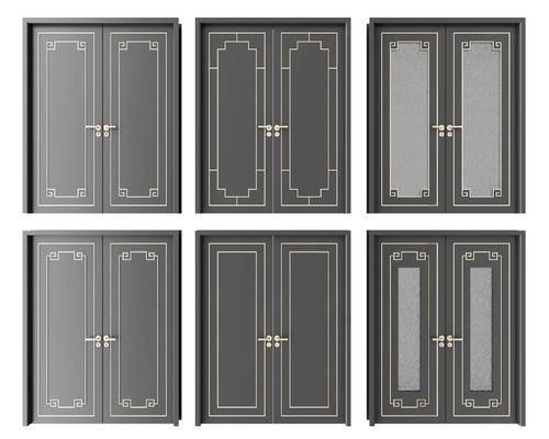 房门, 木门, 双开门, 新中式门