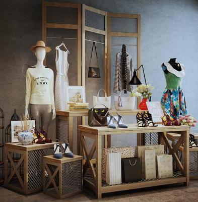 展示组合架, 展示架, 装饰架, 服饰, 鞋包, 现代