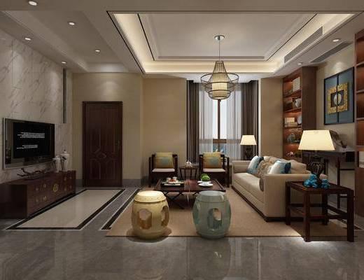 客厅, 多人沙发, 边几, 台灯, 吊灯, 凳子, 茶几, 单人沙发, 装饰柜, 电视柜, 边柜, 摆件, 装饰品, 陈设品, 中式