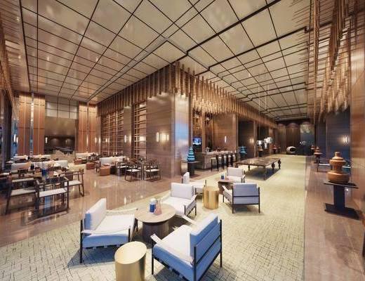 饭店大厅, 大厅, 单人沙发, 茶几, 凳子, 吊灯, 多人沙发, 后现代