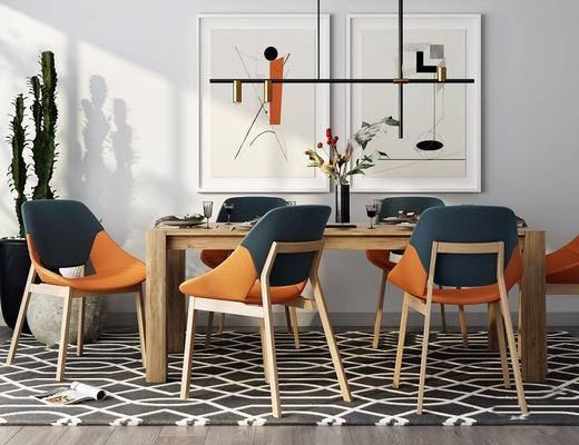 北欧简约, 桌椅组合, 吊灯, 装饰画, 餐具组合, 花瓶, 北欧