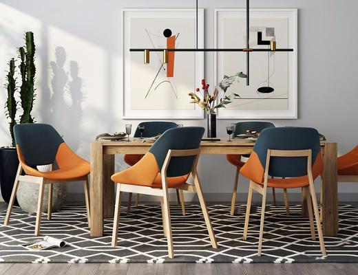 北欧简约, 桌椅组合, 吊灯, 装饰画, 餐具组合, 花瓶