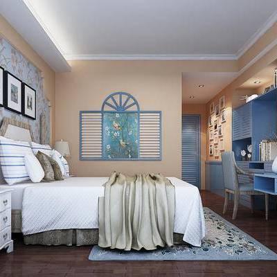 床头柜, 台灯, 椅子, 墙饰, 床, 挂画