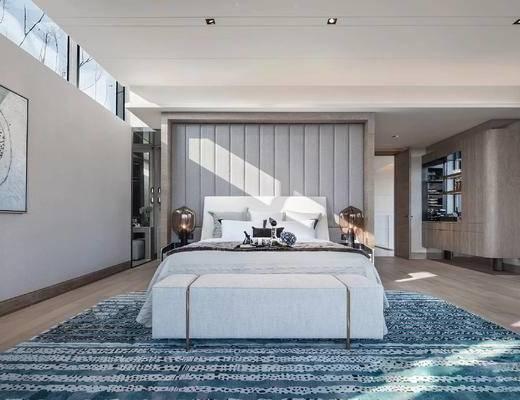 现代简约, 卧室, 床具组合